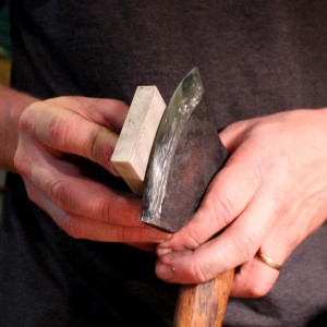 Stone touching the back of the bevel....